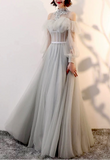 Fairytale long sleeves a line gray pink and dusty green tulle prom maxi dress muslim fashion 2020