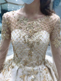 Long sleeves lace appliqués champagne gold crystals rhinestones handmade beaded removable wedding gown