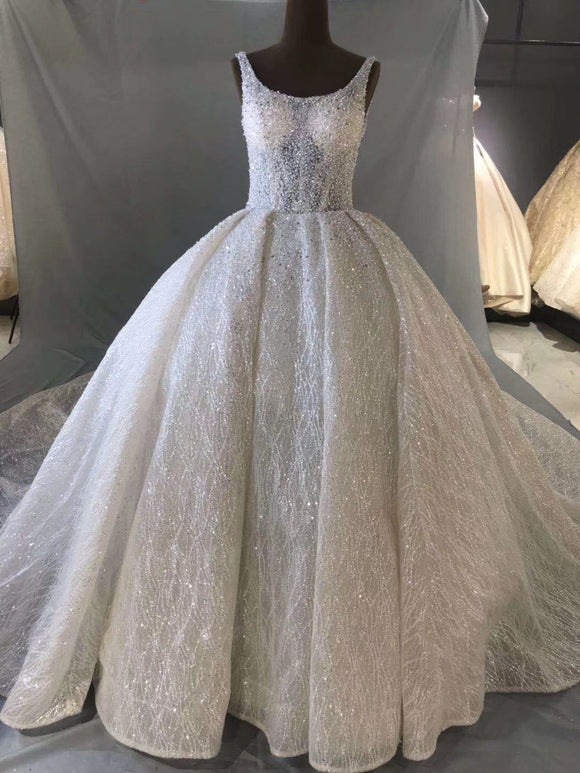 Sparkling glitter fabric ball gown skirt wedding dress