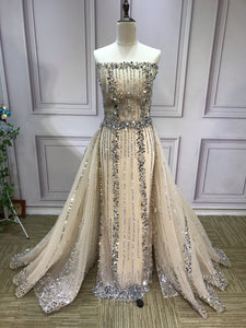 All  beaded sliver crystals rhinestones couture prom dresses in two pieces removable train prom dress - Anna's Couture Dresses