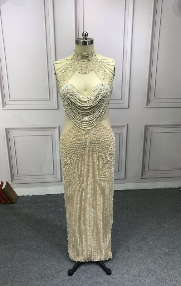 Handmade crystals pearls beaded luxury couture bodice nude prom dress