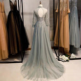 Dusty bean green pink long sleeves tulle dress - Anna's Couture Dresses