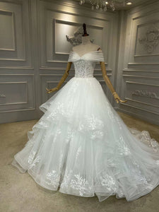 Off shoulder lace floral appliqués ball gown layers skirt wedding dress
