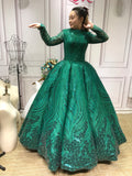 Sparkling emerald green crystals beaded ball gown long sleeves lace wedding prom Muslim dress