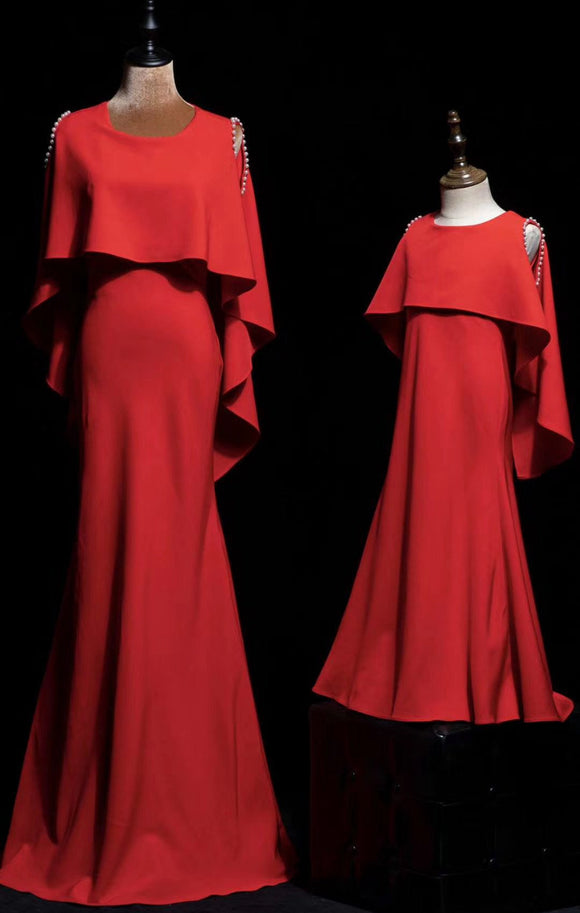 Elegant red mother and the daughter dresses 2020