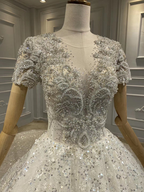 Luxurious short sleeves pearls beaded custom made wedding dress