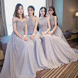 Smoke Gray chiffon bridesmaid dresses