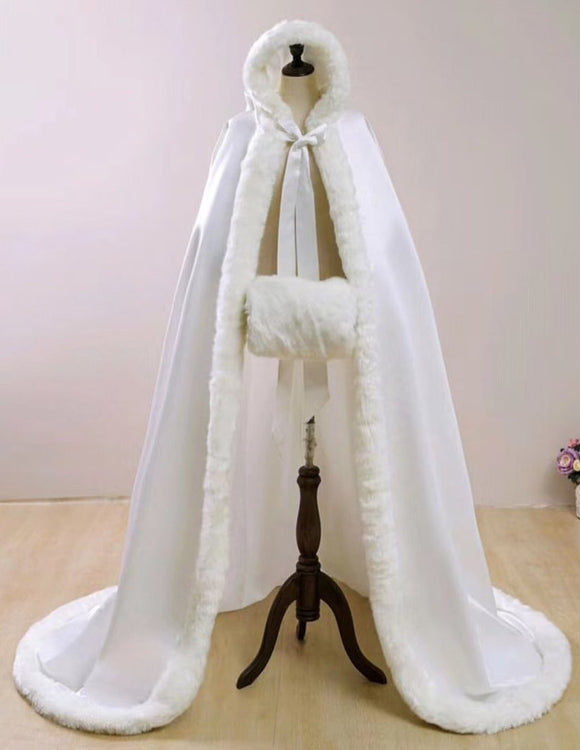 Winter wedding accessories white matte satin fur cloak with hood