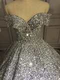 Off shoulder sliver crystals rhinestones sequins beaded ball gown prom dress 2020