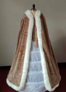 Christmas gift off white winter wedding accessories fur cloak with hoop