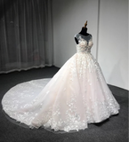 Custom made baby pink floral lace ball gown skirt wedding prom dress