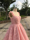 Pink lace ball gown prom dress with flowers embellishment