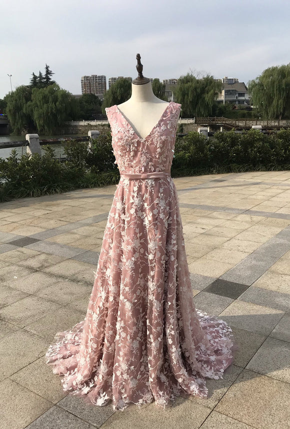 Fairytale floral lace pink a line prom dress with beaded 2020