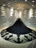 Unique off shoulder black lace sparkling glitter ball gown wedding prom dress 2020