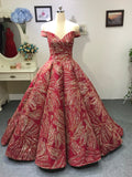 Red and gold glitter fabric sparkling red ball gown prom dress 2020