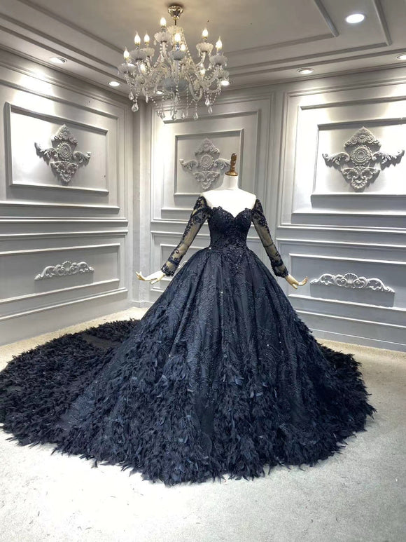 Unique long sleeves black lace sparkling glitter feathers ball gown wedding prom dress 2020