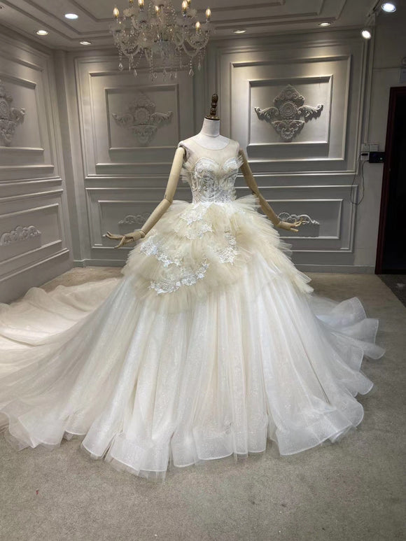 Ruffles flowers champagne  sparking glitter off white ball gown wedding dress 2020