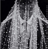 Cathedral length chic pearls beaded wedding veil