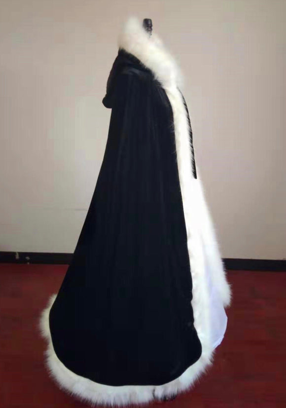 Christmas gift black winter wedding accessories fur cloak with hoop