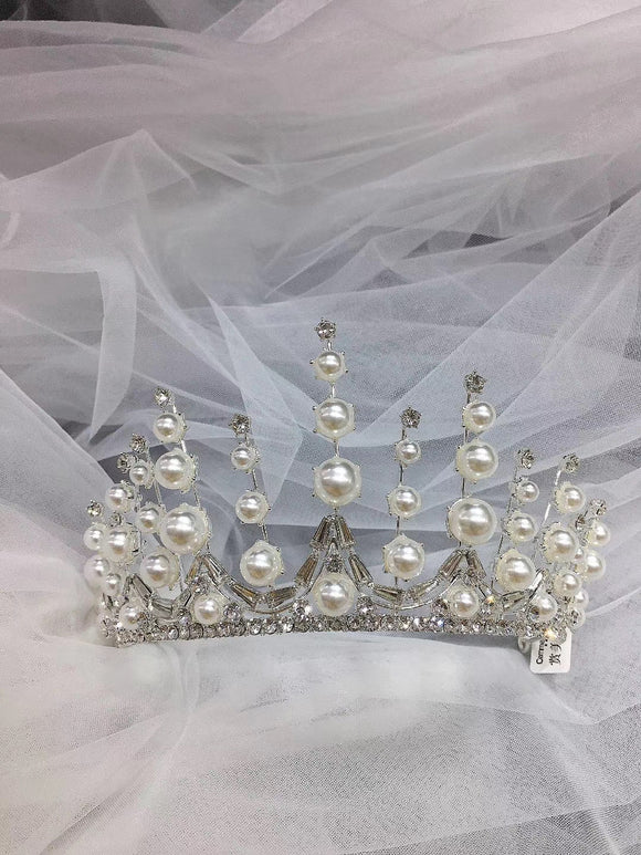 Crystals pearls handmade bridal tiara crown