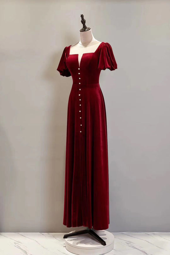 Chic velvet red prom dress 2020