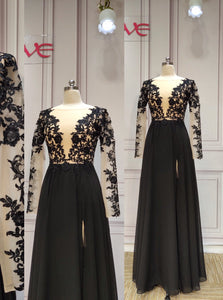 Long sleeves sexy v neck black lace appliques slit front chiffon bridesmaid dresses