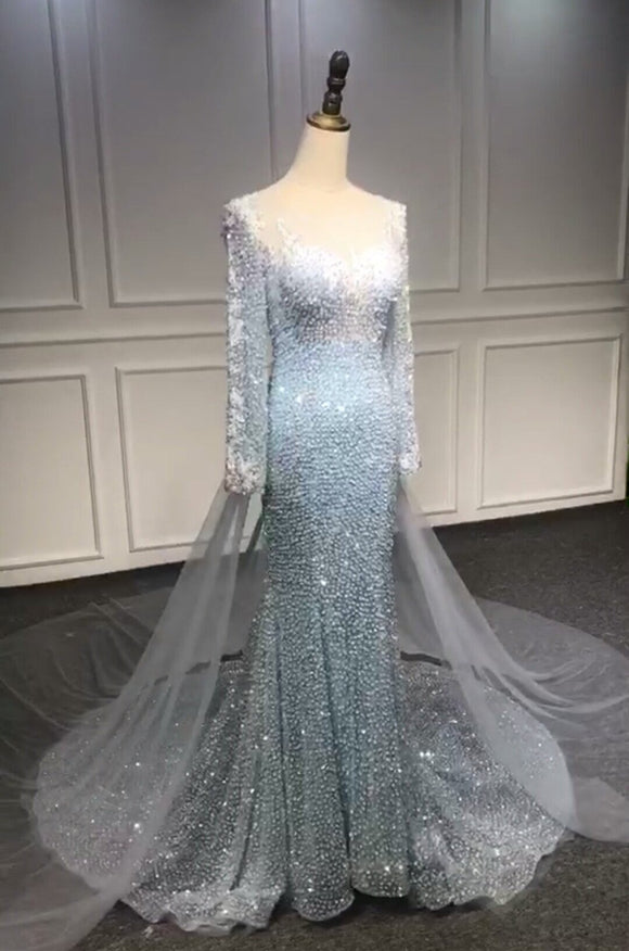 Long sleeves blue mermaid sequins prom dress 2020