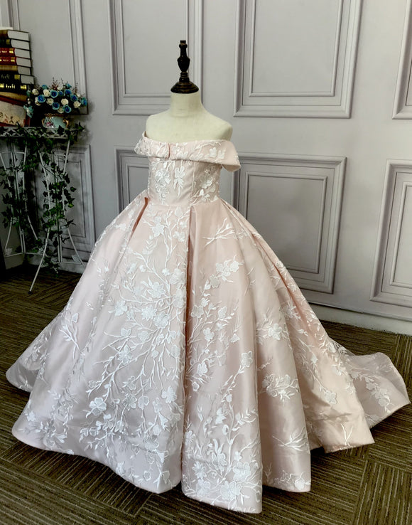 Off shoulder baby pink lace puffy flower girl dresses 2020