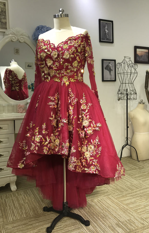 Luxury long sleeves red hi low ball gown prom dress with gold lace appliqués crystals rhinestones beaded 2020