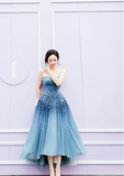 Luxury gradient blue crystals pearls sequins handmade beaded tea length couture prom dresses