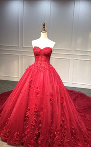 Fairytale dark red ball gown skirt 3D lace flowers wedding prom dress