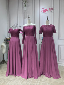 Off shoulder lace top plum orchid chiffon skirt full length maxi bridesmaid dresses