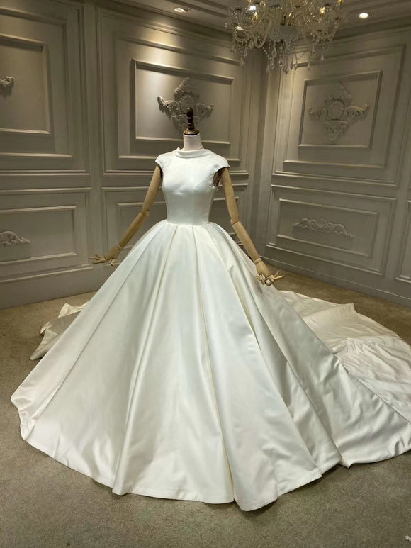 Chic high neck cap sleeves matte satin ball gown wedding dress