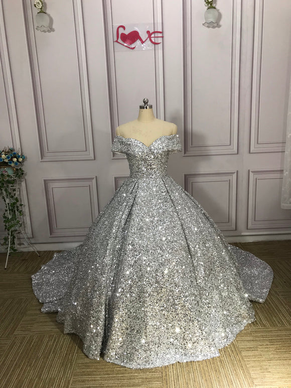 Off shoulder sliver ball gown prom dress