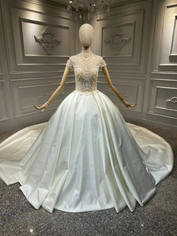 Chic high collar glamorous shiny satin ball gown skirt wedding dress crystals rhinestones pearls beaded top