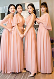 Lighter pink multi style chiffon bridesmaid dresses