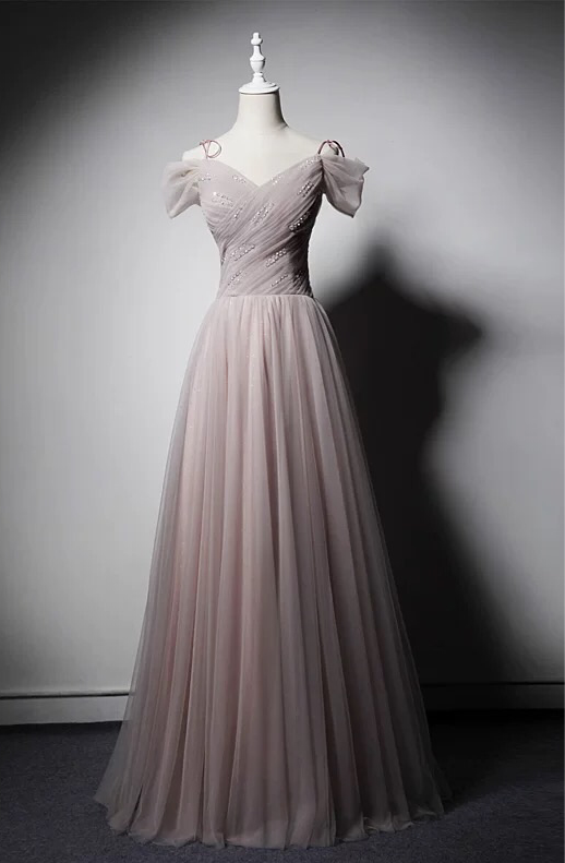 Fairytale dusty pink off shoulder maxi prom