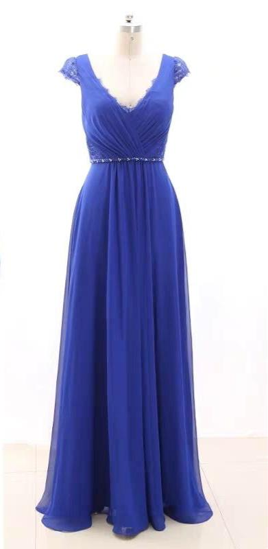 Blue chiffon  formal party graduation bridesmaid dresses