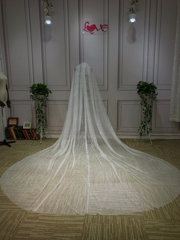 Sparkling 5 meters length ivory glitter bridal wedding veil 2020