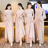 Dusty pink multi style chiffon bridesmaid dresses