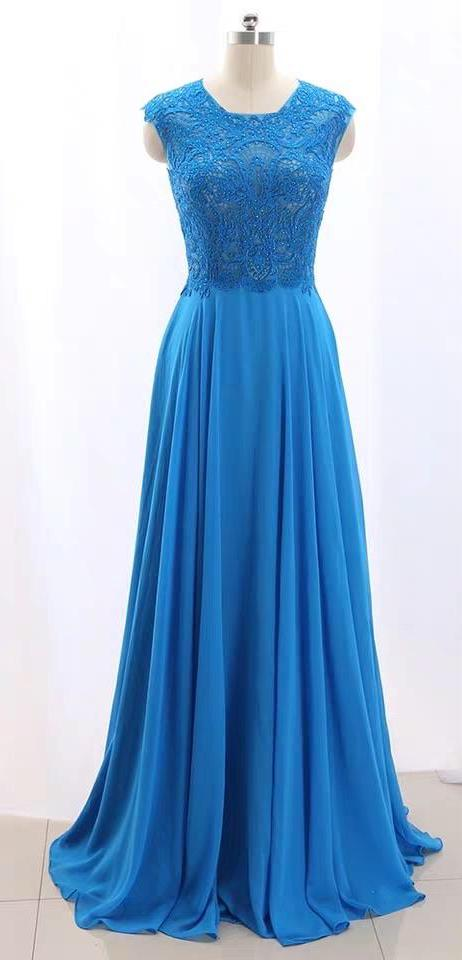 Blue pink lace chiffon bridesmaid dresses