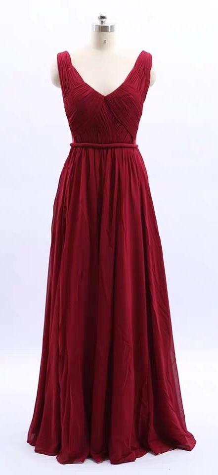 Pink red chiffon bridesmaid dresses