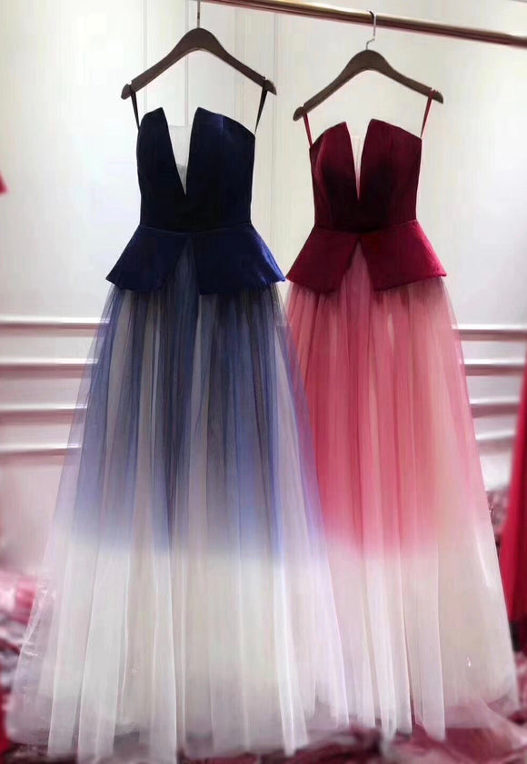 2020 most popular gradient color tulle A line prom dress