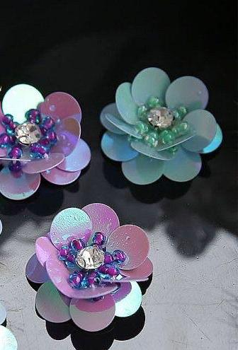 Handmade pearls crystals rhinestones beaded sequins flower