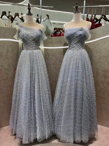 Fairytale pearls all beaded gray blue pink red prom event dress 2020