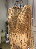 Handmade beaded gold crystals sequins rhinestone mermaid engagement prom couture dresses - Anna's Couture Dresses
