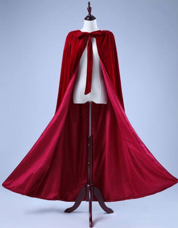 Christmas gift red velvet satin winter wedding accessories cosplay cloak with hoop