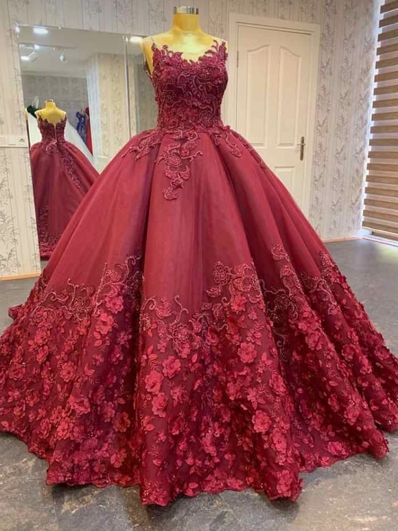 Fairytale dark red ball gown skirt lace flowers wedding prom dress