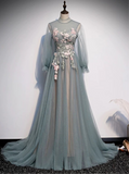 Fairytale long sleeves a line dusty green tulle prom maxi dress muslim fashion 2020