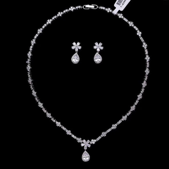 Chic crystals pearls handmade bridal necklace jewelry sets